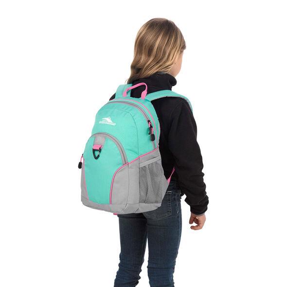 High Sierra Mini Loop Backpack in the color Aquamarine/Ash/Pink Lemonade.