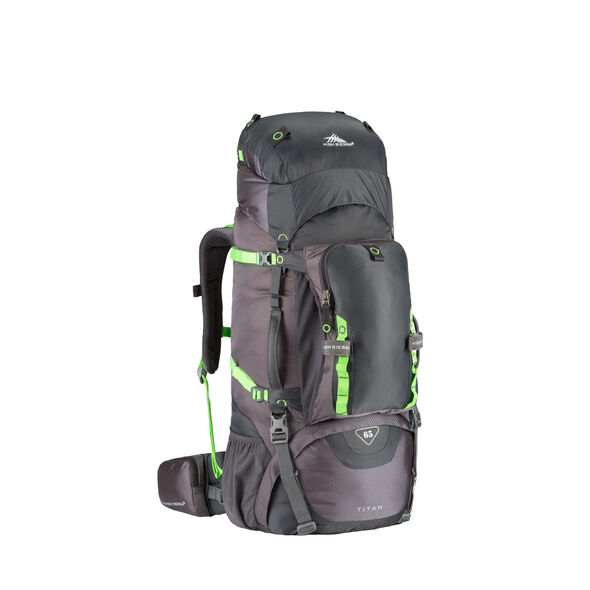 High Sierra Titan 65 Frame Pack in the color Mercury/Lime.