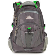 High Sierra XBT TSA Backpack in the color Charcoal/Silver/Kelly.