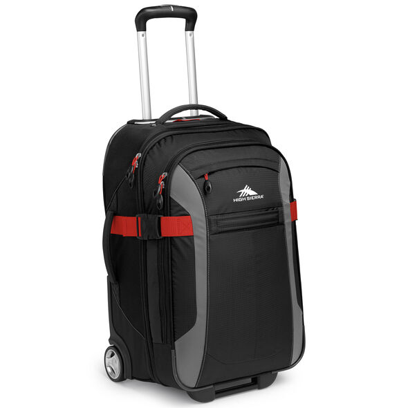 """High Sierra Sportour 22"""" Carry-On Upright in the color Black/Charcoal/Crimson."""