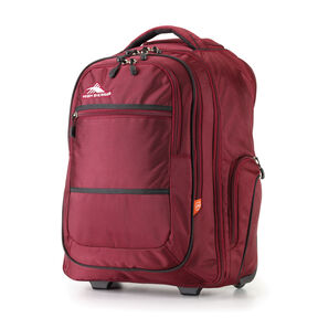 High Sierra Rev Wheeled Backpack in the color Cranberry/Black.