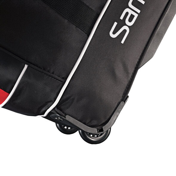 "Samsonite Andante 28"" Drop Bottom Wheeled Duffle in the color Black/Red."