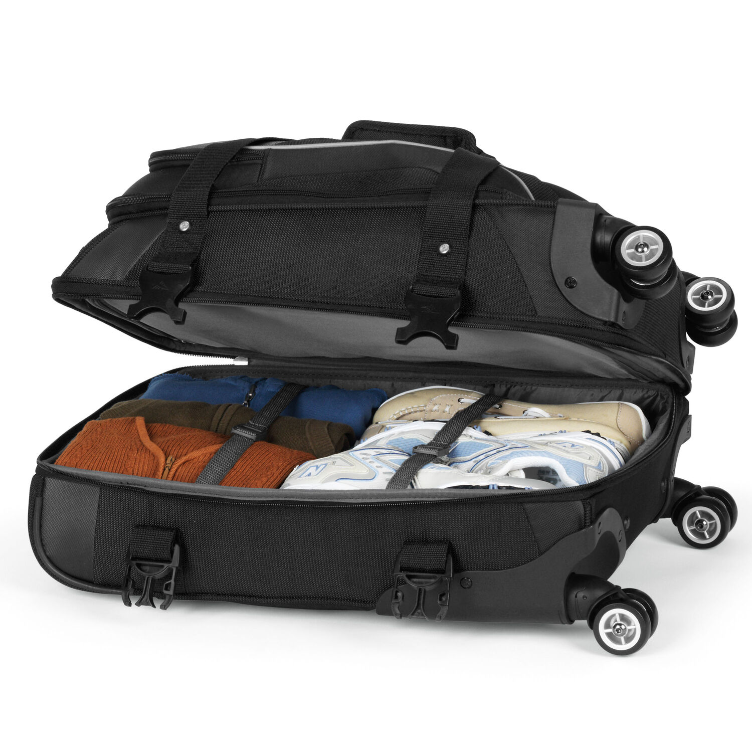 High sierra at7 carry on spinner duffle in the color black