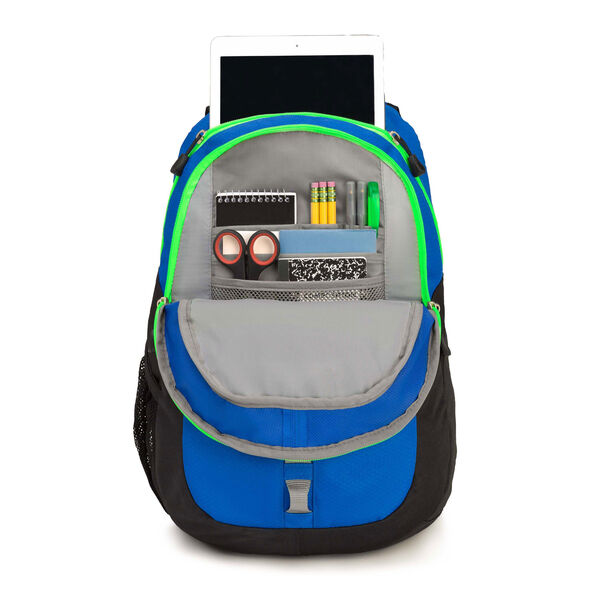 High Sierra Opie Backpack in the color Black/Vivid Blue/Lime.