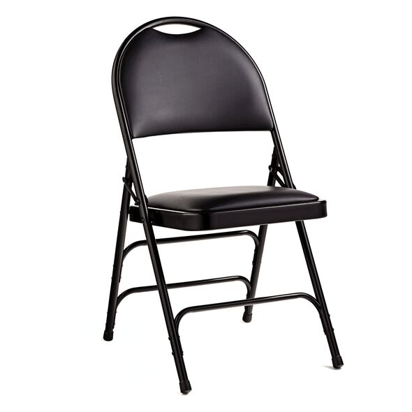 Samsonite Comfort Series Steel & Vinyl Folding Chair (Case/4) in the color Black.