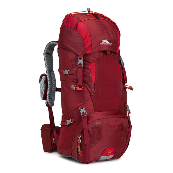 High Sierra Tech 2 Series Hawk 40 Frame Pack in the color Brick/Carmine/Red Line.