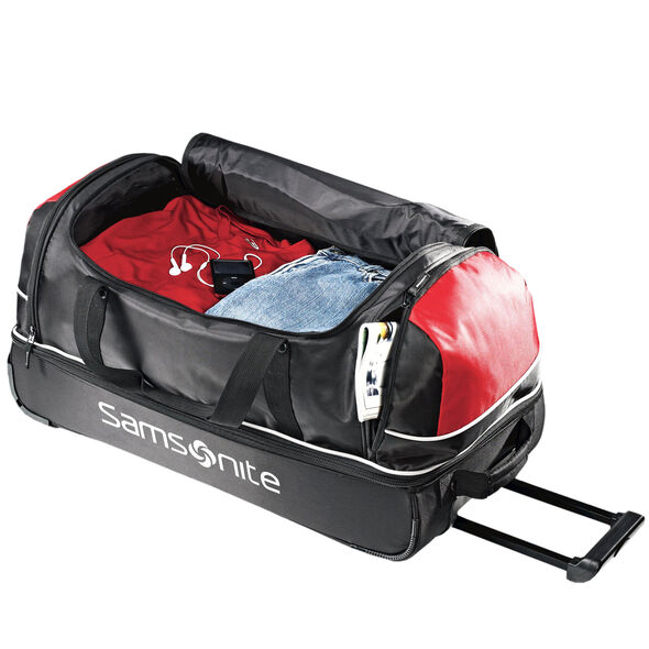 "Samsonite Andante 32"" Drop Bottom Wheeled Duffle in the color Black/Red."