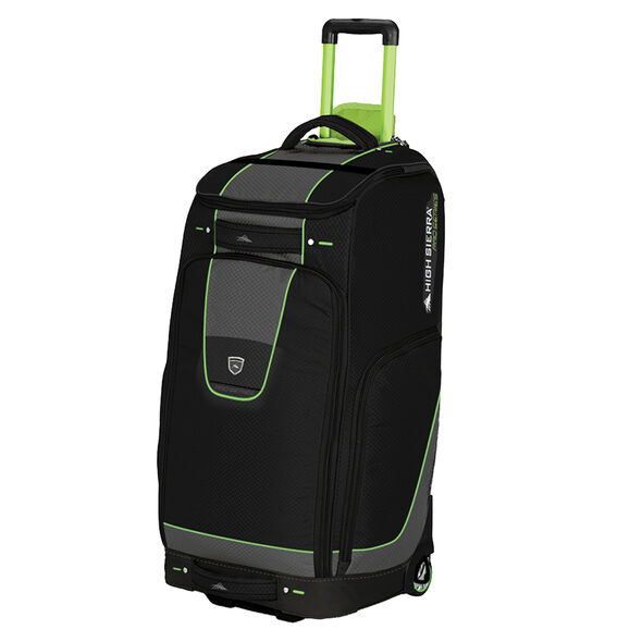 """High Sierra 30"""" Trapezoid Wheeled Duffel in the color Black/Charcoal/Chartreuse."""