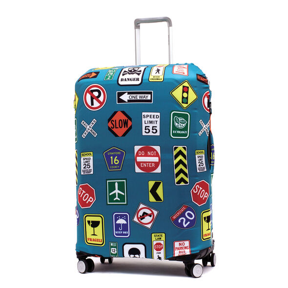 Printed Luggage Cover - L in the color Street Signs.