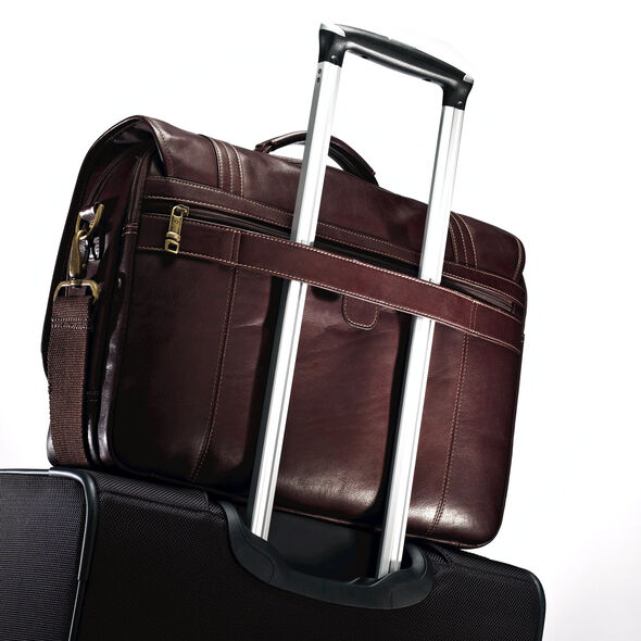 Samsonite Colombian Leather Flapover Briefcase in the color Brown.