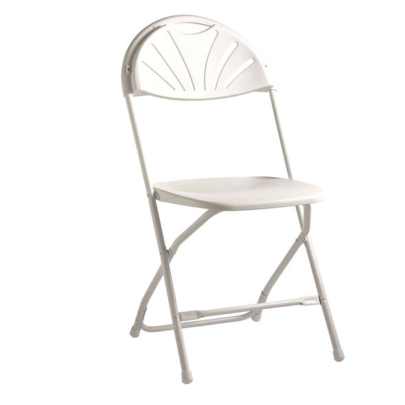Samsonite 2000 Series Injection Mold Fanback Folding Chair (Case/10) in the color White/White.