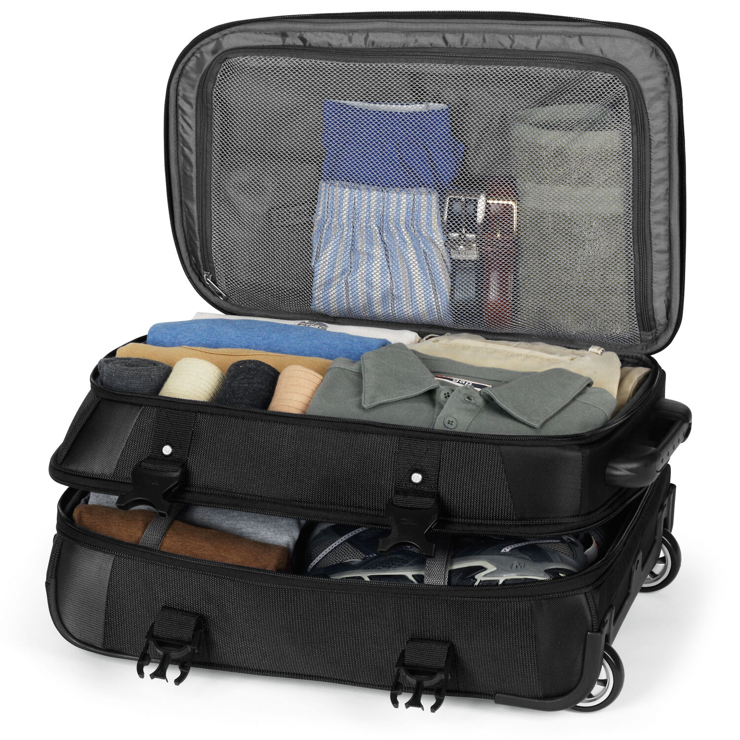 High sierra at7 carry on wheeled duffle in the color black