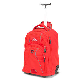 High Sierra Freewheel Wheeled Backpack in the color Crimson/ Charcoal.