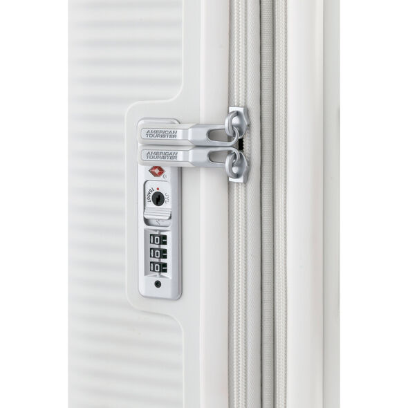 """American Tourister Curio 25"""" Spinner in the color White."""