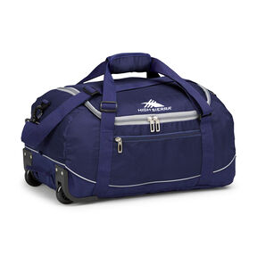 "High Sierra Wheel N Go DLX 21"" Wheeled Duffle in the color True Navy/ Ash."