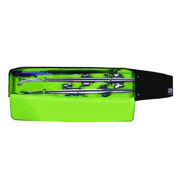 High Sierra Wheeled Double Adjustable Ski Bag in the color Black/Charcoal/Chartreuse.