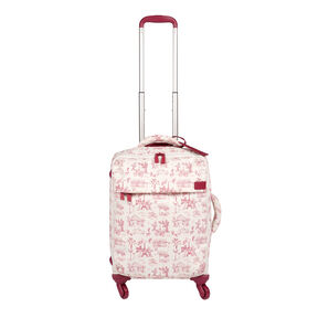 """Lipault Original Plume 22"""" Spinner Carry On in the color Toile de Jouy/Amaranth."""