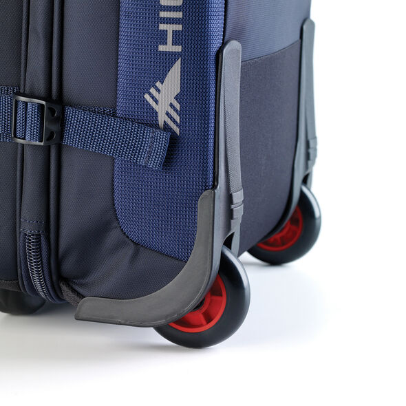 High Sierra AT6 DLX Carry-On Wheeled Duffle Upright in the color True Navy/Red Line.