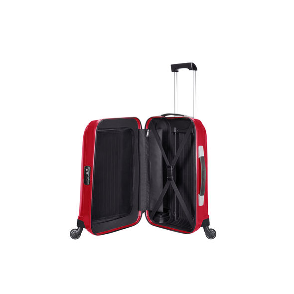 "Samsonite Chronolite 20"" Spinner in the color Chili Red."