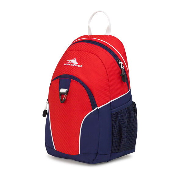 High Sierra Mini Loop Backpack in the color Crimson/True Navy/ White.