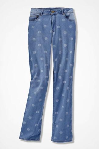 The Creek® Pumpkin Print Straight-Leg Jeans, Light Wash, large