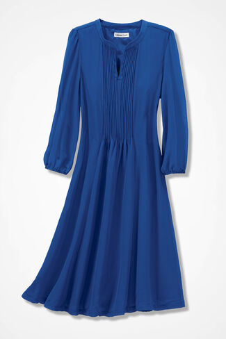 Flatter-and-Flow Pintucked Dress, Cobalt, large