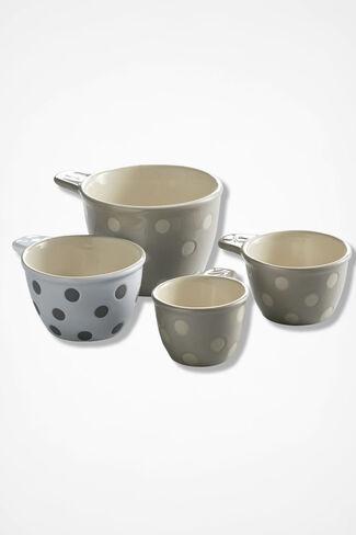 Polka Dot Measuring Cups, Grey, large