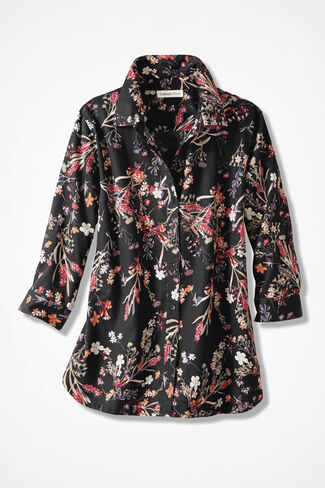 Forest Flowers Easy Care Shirt, Black Multi, large