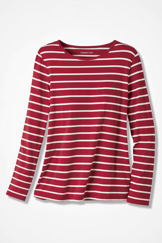 PrimaKnit® Striped Crewneck Tee, Dover Red, large
