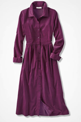 Pincord Shirtdress, Mulberry, large