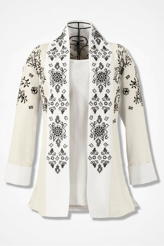 Free-Flow Embroidered Jacket, Ivory, large