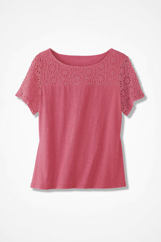 Lace-Topped Slub Tee, Hibiscus, large
