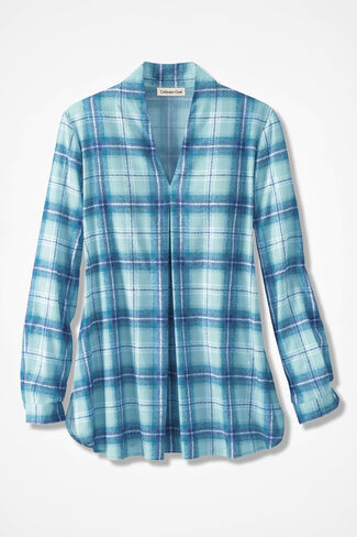 Plaid-in-Abstract Tunic, Cerulean, large