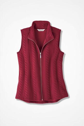 Curved-Hem Cabled Vest, Dover Red, large