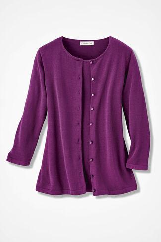 Silk/Cotton Cardigan, Vienna Currant, large