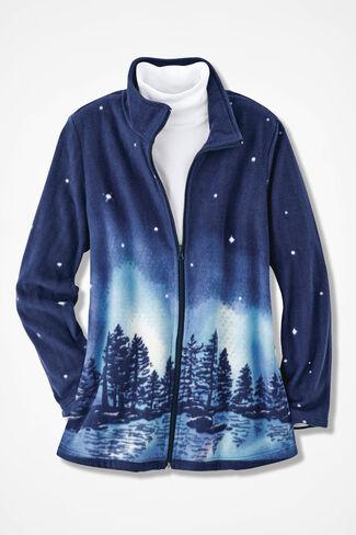 Celestial Scene Fleece Jacket, India Ink, large
