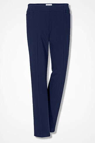 Stretch Twill Side-Zip Ankle Pants, Navy, large