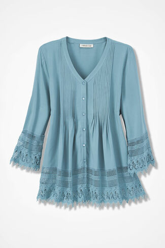 Gracious Lace Blouse, Robins Egg, large