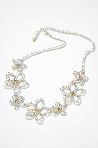Floral Dimensions Necklace, Gold, large