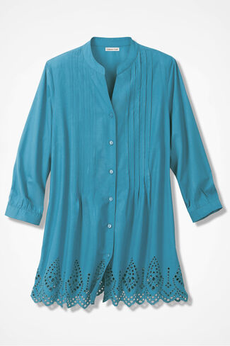 Easy Eyelet Top, Intense Aqua, large