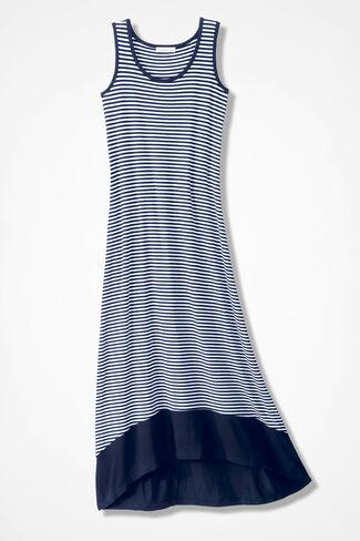 Timeless Stripes Hi-Lo Dress, Navy/White, large