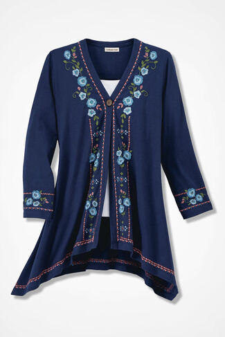 Storied Floral Embroidered Cardigan, Navy, large
