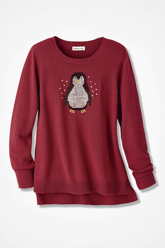Sparkly Penguin Sweater, Dover Red, large