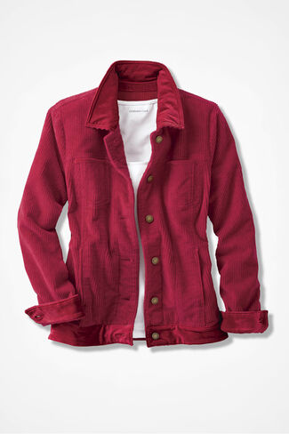 Velvet Trim Corduroy Jacket, Dover Red, large