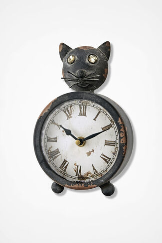 Cat Mantle Clock, Brown, large