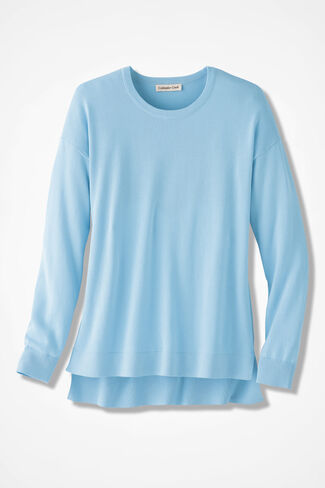 Easygoing Boyfriend Crew Neck Sweater, Porcelain Blue, large