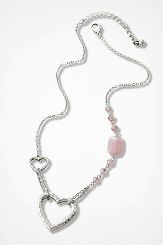 Fell For You Hearts Necklace, Petal Pink, large