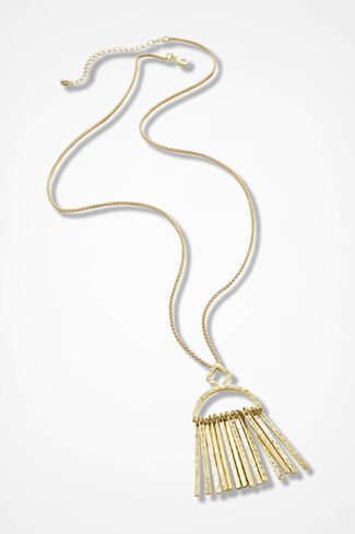 Metal Arts Fringed Necklace, Gold, large