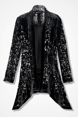 Velvet Blossoms Burnout Jacket, Black Multi, large