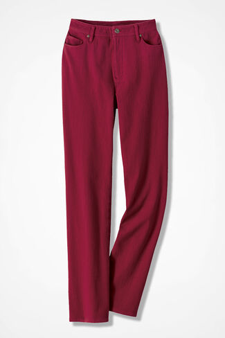 Knit Denim Straight-Leg Jeans, Dover Red, large